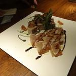50342896 - アスパラとタンのテリーヌ                        鰆のスモークと野菜のジュレ