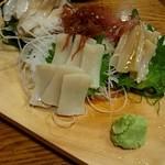 貝料理 吟 - 『貝の刺身3点(北寄・ミル・平)盛り』¥2500-