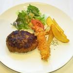 Katsu - 人気のハンバーグと海老フライのセット
