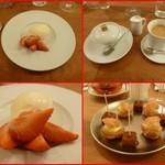 エスパイ クック コウベ - マダガスカル産のバニラビーンを使ったソルベ、いちご添え       小菓子とホットコーヒー