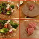 エスパイ クック コウベ - 野菜たっぷりサラダ、       ビーフロースト(砂糖コートで旨みを閉じ込めて)