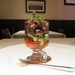 ピアチェボーレ - 蛍烏賊と完熟トマトのカクテル フラーゴレのソースで