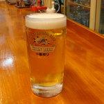 鳥笹 - 生ビール(中)420円