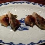 石鍋料理 健 - シメサバ大葉巻き揚げ