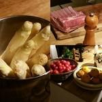 青 AO - オープンキッチンに並ぶ食材達、炭火で頂きます