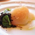 50402202 - 帆立のマリネ、菊芋のパンナコッタ、ドライマッシュルーム