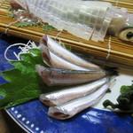 魚好亭 - 剣先烏賊の活け造り&活き鰯刺し3