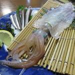 魚好亭 - 剣先烏賊の活け造り&活き鰯刺し2