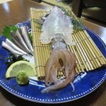 魚好亭 - 剣先烏賊の活け造り&活き鰯刺し1