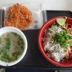 浜のかきあげや - 由比丼セット(由比丼、かき揚げ、桜えびのみそ汁)(2016.4)