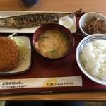 野洲小篠原食堂 - 料理写真:さんま塩焼き、メンチカツ、きんぴらごぼう、味噌汁、ライス