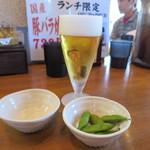 なまらうまいっしょ - グラス生ビールは枝豆つき