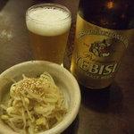 味陶庵 志奈川 - お通しの豆もやしとYEBISU