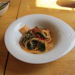 PAC - ウマイ菜と自家製ベーコンのトマトスパゲッティー