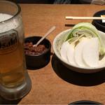 土間土間 - 生とお通し(肉味噌美味い!)