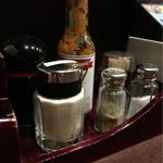 チロリン村 - タバスコ風ソース 粉チーズ など 調味料スタンバイ