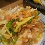 50498726 - 桜えびのサラダ                       桜えびは揚げてました。                       小皿に取り分けた写真です。