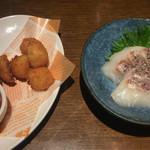 坐・和民 - チーズフライと鯛のお刺身