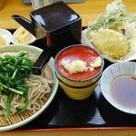 清流の郷 かすお - ニラそば天ぷらセット 全景