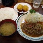 洋食エリーゼ - 「ビーフトマト定食」920円と「カニクリームコロッケ」300円