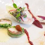 メゾン エメ・ヴィベール - 前菜はオマール海老とナスのテリーヌ タプナードとカレーの香り いいですねえ美味いです