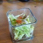オスピターレ - 特製デミ&ホワイトソースオムライス大盛り サラダ