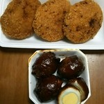 後藤精肉店 - キャベツたっぷりのメンチカツ と 人気の肉巻卵