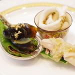 古月 - ランチコースの前菜3種盛り合わせ
