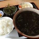 """食事処 東ぬ浜 - イカスミ汁定食;丼がデカい! 黒いッ!w.""""海ぶどう""""も付いてマス @2016/04/22"""