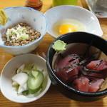 50552932 - 納豆・生玉子・漬物・マグロぶつ