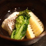 土家 - 蕎麦がきと鯛と筍と菜の花のお椀