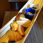 寿司 松岡 - Bコース(1,890円)の季節の前菜盛合わせ