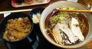 山口精肉・製麺センター - 山口精肉・製麺センター@山形 肉そば牛丼セット