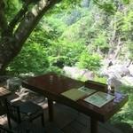 昇仙峡 金渓館 - 下から川のせせらぎが