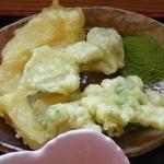 茶の里 映山紅 - 天ぷら(こごみ、ゆきのした、たけのこ)