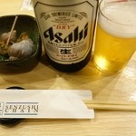 千寿司 - お通しとスードラ中瓶