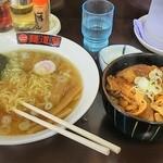 麺道蘭 二戸店 - ラーメンカルビ丼セット1020円(30円引き)