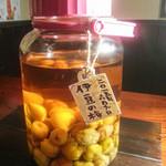 炭火焼肉 七福 - 自家製梅酒あります。