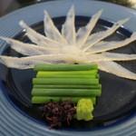 懐石一空 - 28年5月 宮城天然穴子の造り 葱、山葵