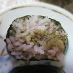 くげぬまライス - 十六穀米ふき味噌断面アップ