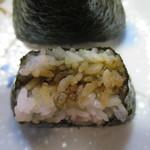 くげぬまライス - 四万十川のり佃煮と茎わさび断面アップ