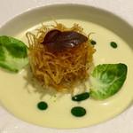 Sky Restaurant 634 - ウニとずわい蟹のガトー仕立て 柚子胡椒の香り 芽キャベツとポロ葱のスープ