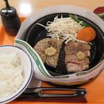 ペッパーランチ - サーロインペッパーステーキ&ハンバーグ盛り+サラダ&ドリンクセット
