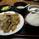 Chuugokutairikuryourisuisenkaku - 日替わり定食です。この日のメインは豚肉とザーサイの炒め物。(2016年5月)