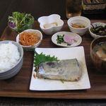 Saka - サワラ西京漬け焼き定食(小鉢3品)(2016.04)