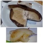 鉄板焼なか乃 - ◆上:椎茸・・これ美味しい。 下:玉ねぎ