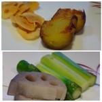 鉄板焼なか乃 - ◆上:丁寧に焼かれた「ガーリック」と「サツマイモ」。サツマイモが甘いですねぇ。 下:蓮根とアスパラ