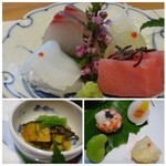 鉄板焼なか乃 - *上:お刺身「鮪」「烏賊」「鯵」 *左下:サザエの雲丹和え *右下:「車海老のてまり寿司」「蕪のサーモン巻」「そら豆の蜜煮」