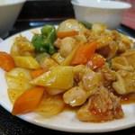 50684477 - 鶏肉の角切り唐辛子炒め