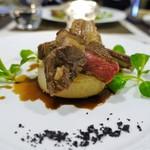 レストラン ピウ - 仔羊背肉の燻製  キプロス島の竹炭の塩と雪室北あかりのドフィノワと共に
